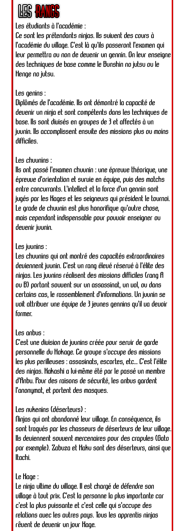 Shinobi - L'art d'être un ninja (cc) Rangs-3607370